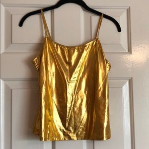 Gold lame camisole.